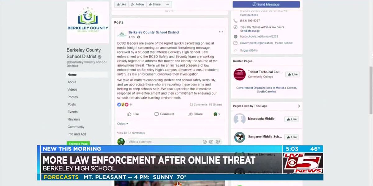 VIDEO: Berkeley Co. deputies to increase presence at high school after social media threat