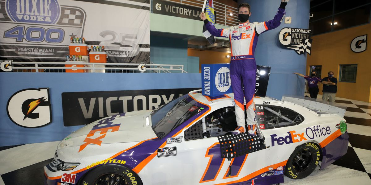 Denny Hamlin wins on a long day at Homestead