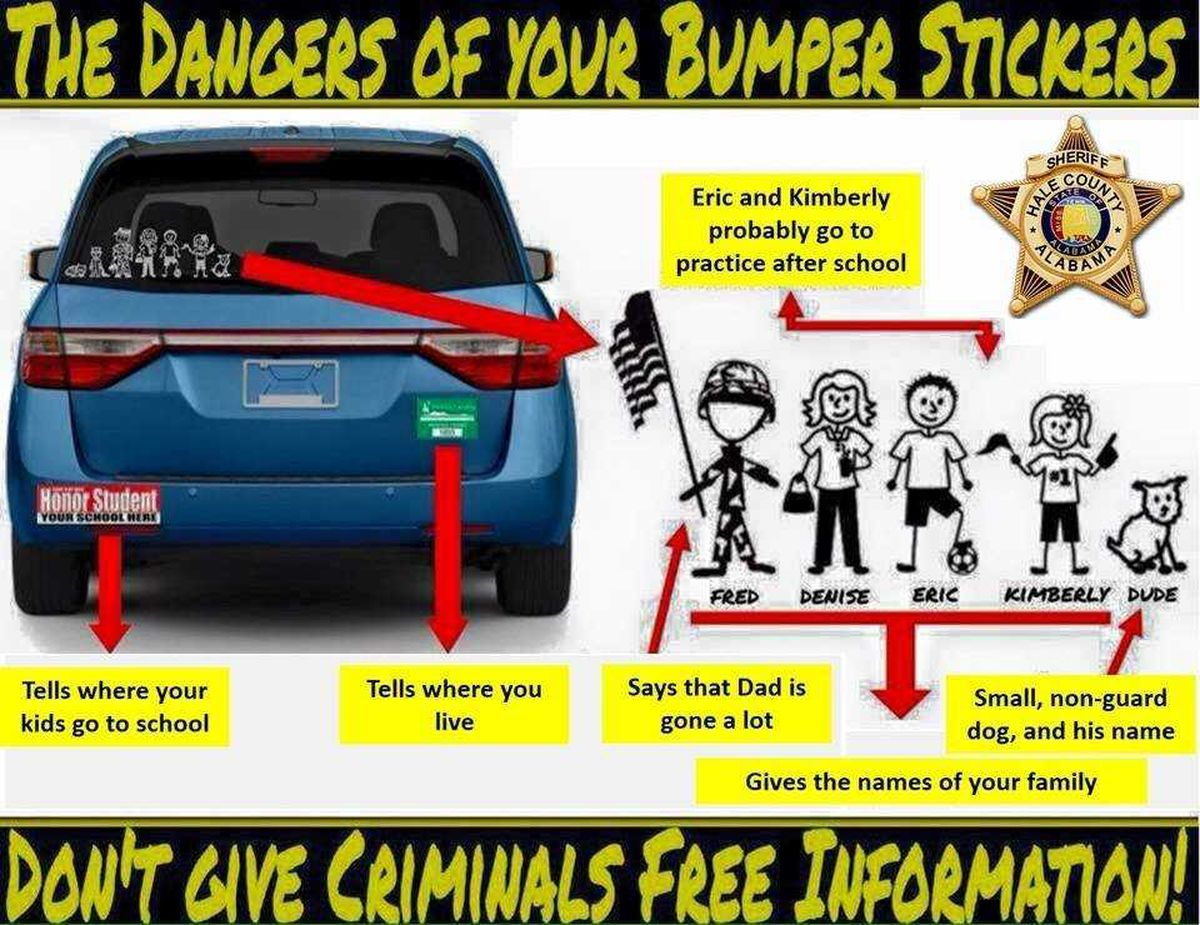 Police dont give out too much information on bumper stickers