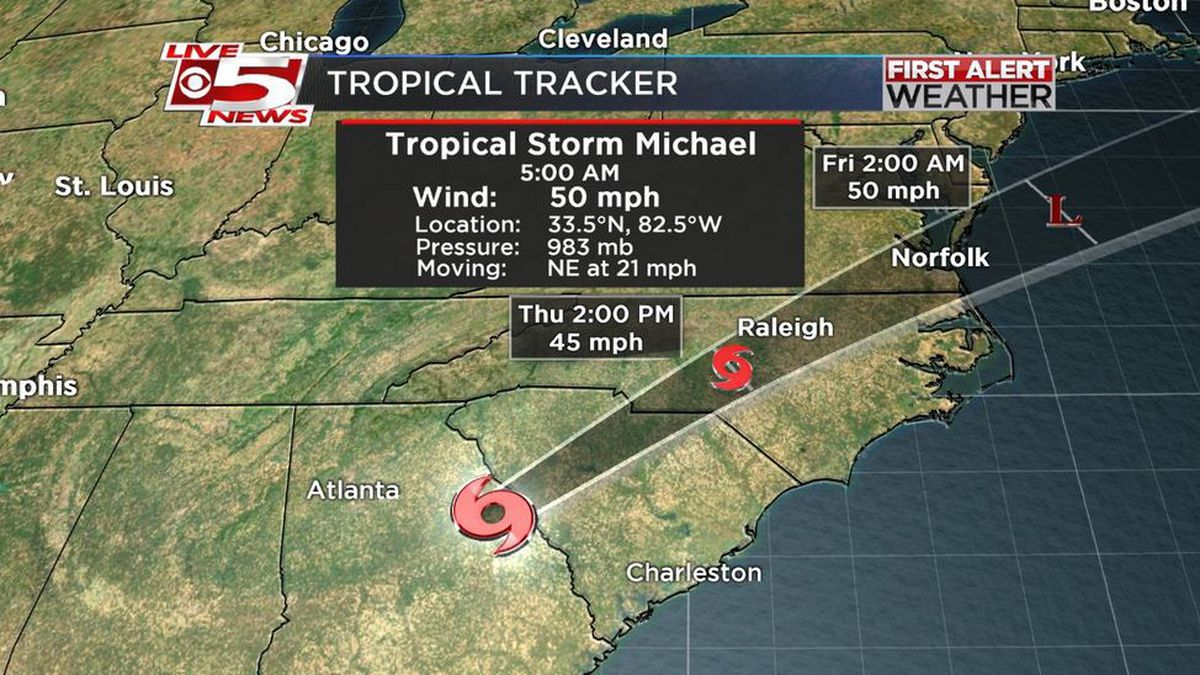 FIRST ALERT: Winds calm down in Lowcountry as TS Michael moves toward NC