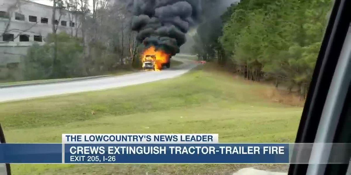 VIDEO: Firefighters extinguish tractor trailer fire off I-26