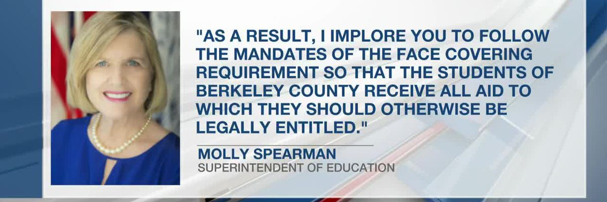 Superintendent says Berkeley Co. Schools mask non-compliance may affect CARES Act eligibility