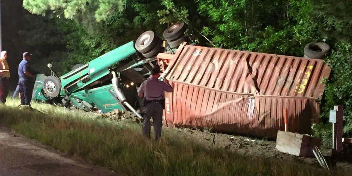 Crews clear overturned semi on I-26 in Berkeley County; DHEC on scene