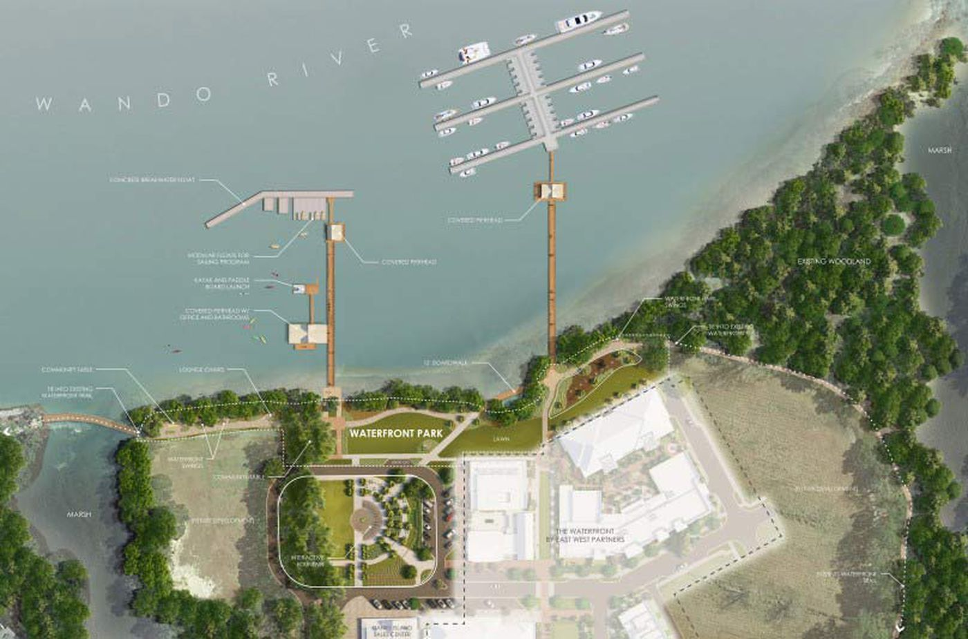 The new yacht club will offer boat club memberships, kayak and paddleboard rentals, sailing opportunities, fishing and crabbing, water transportation through the Daniel Island Ferry, and other special event space where a band could play.