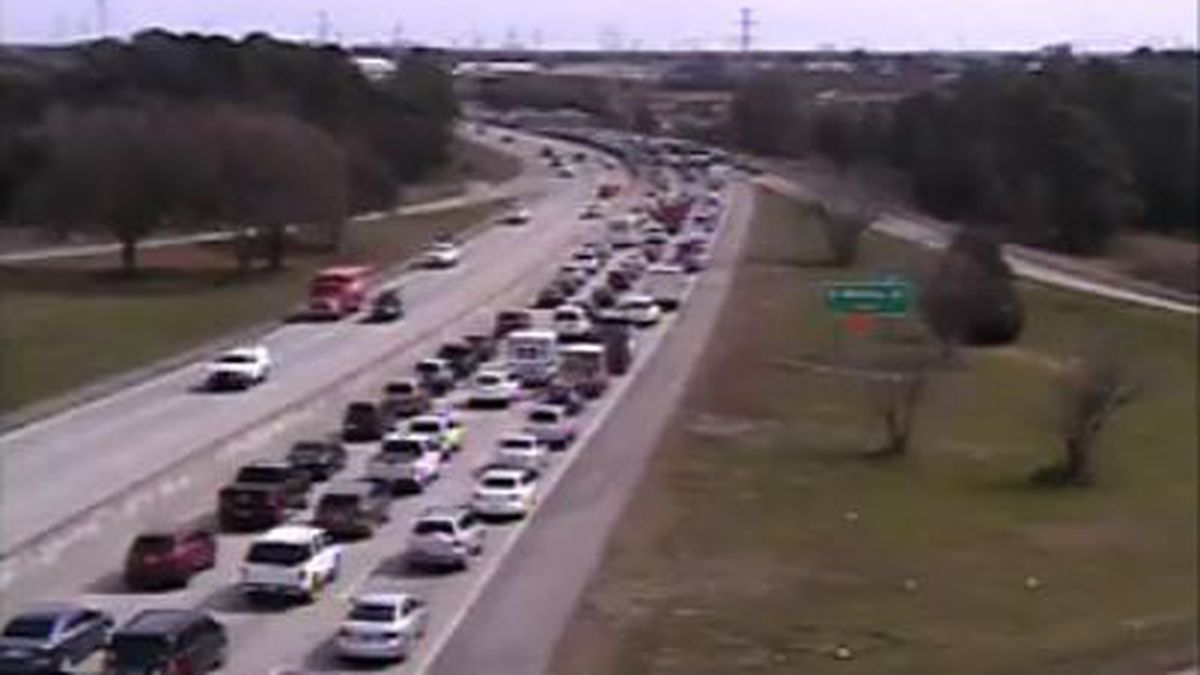 Traffic moving again on I-26 EB after car fire blocked all lanes