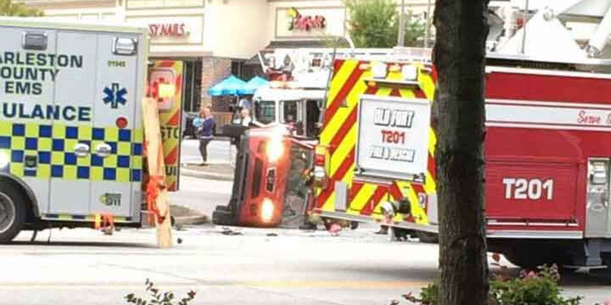 Emergency crews clear car accident on Ladson Road