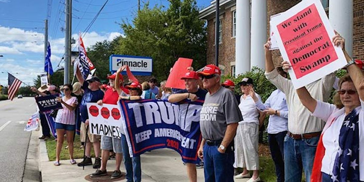 SCGOP, Trump supporters rally in Mt. Pleasant, call on Cunningham to denounce impeachment effort