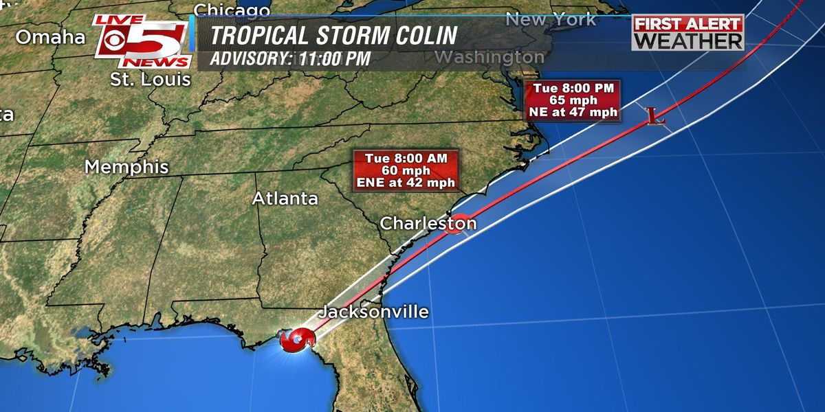 Rain dissipates as Tropical Storm Colin moves out to Atlantic
