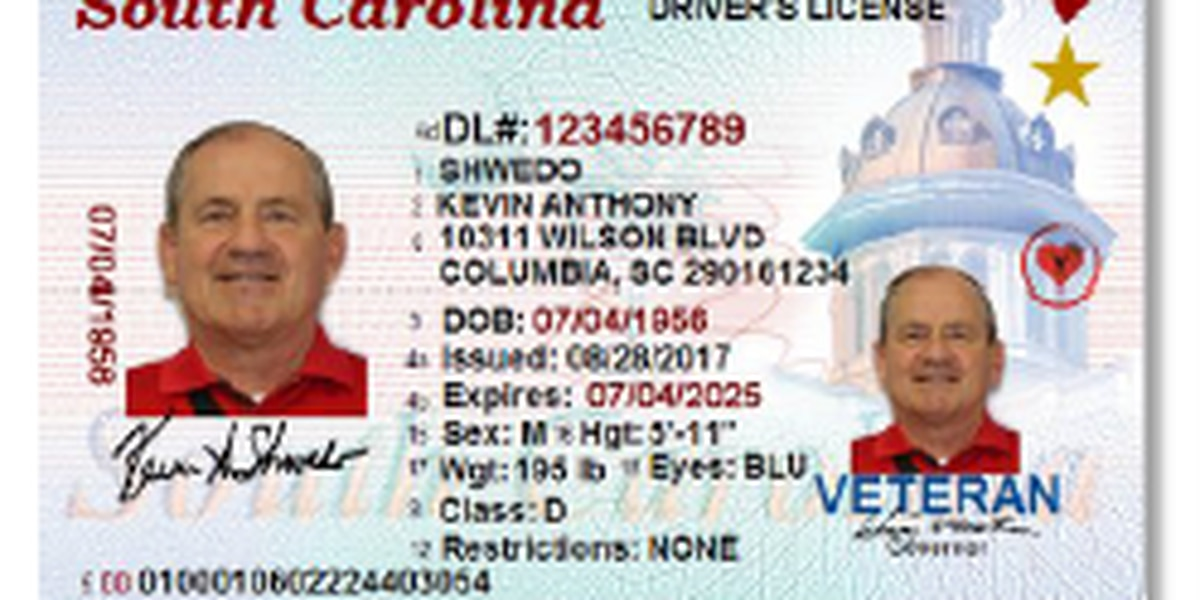 South Carolina DMV releases image for new REAL ID card