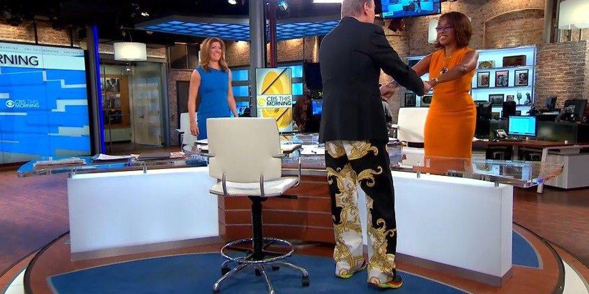 CBS anchor dons Cam Newton-style pants, surprises co-anchors