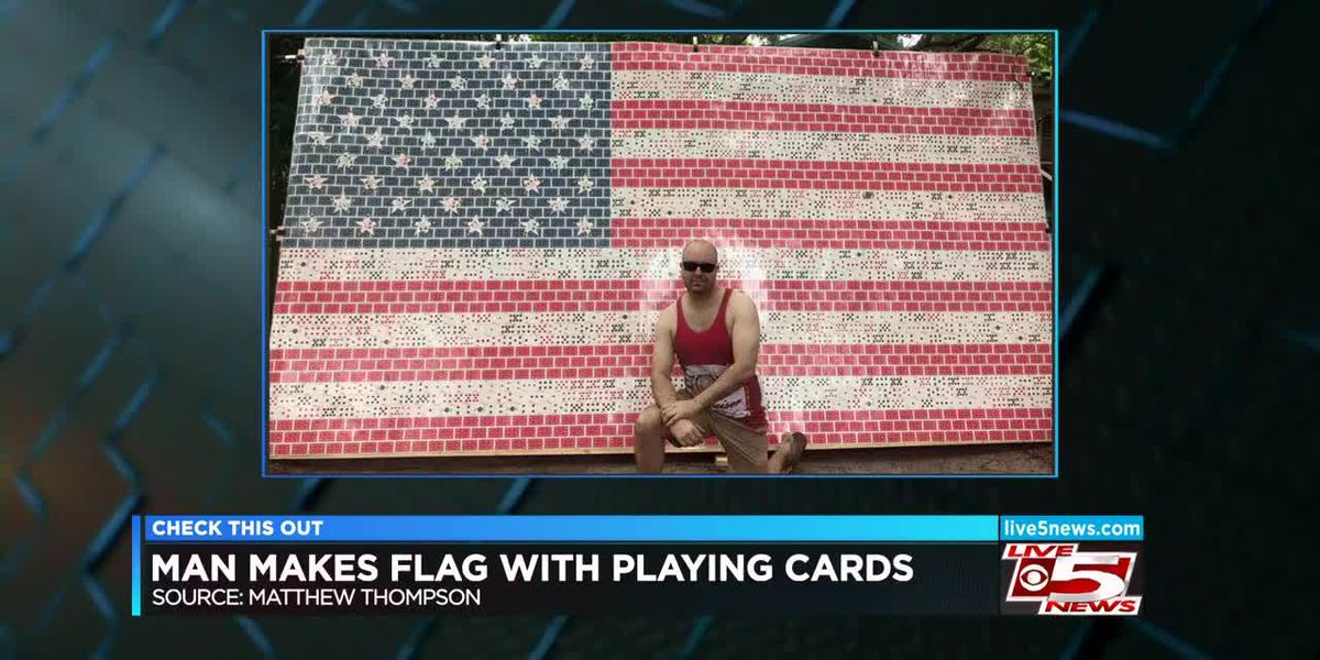 VIDEO: Man makes American flag with playing cards