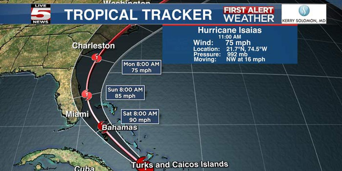 Tropical Storm Isaias arriving on Tuesday
