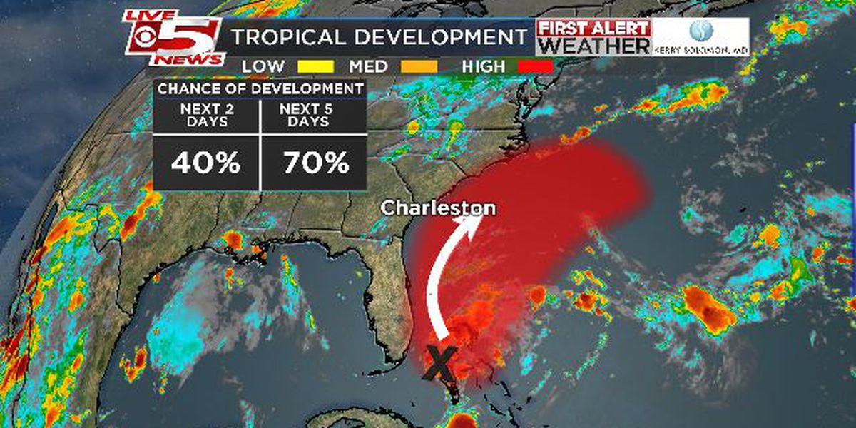 System over Bahamas likely to become tropical depression, should stay off SC shore