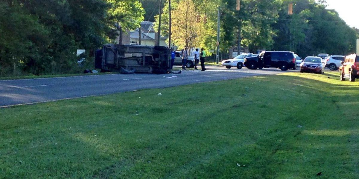 Emergency crews respond to overturned vehicle on Dorchester Road