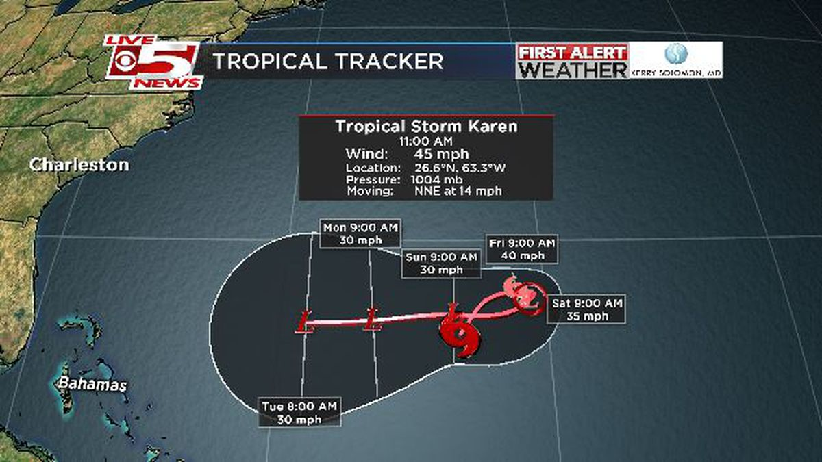 FIRST ALERT: Karen very disorganized, barely keeping Tropical Storm status