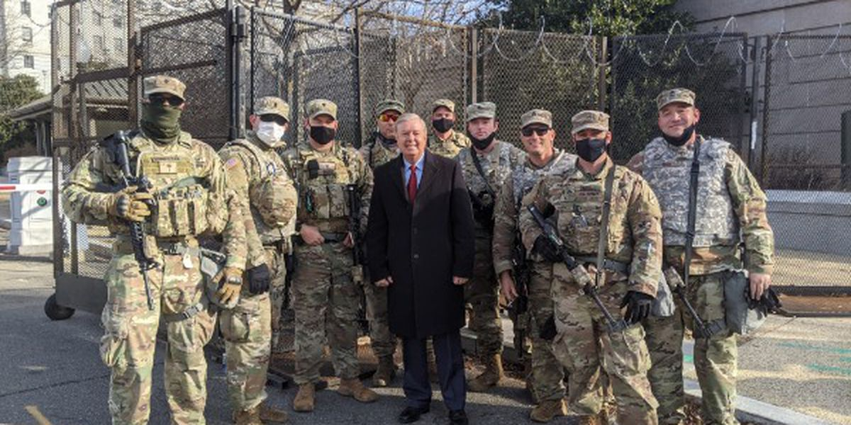 'Thank you for your service to our nation!': Sen. Graham poses with S.C. National Guard troops before inauguration
