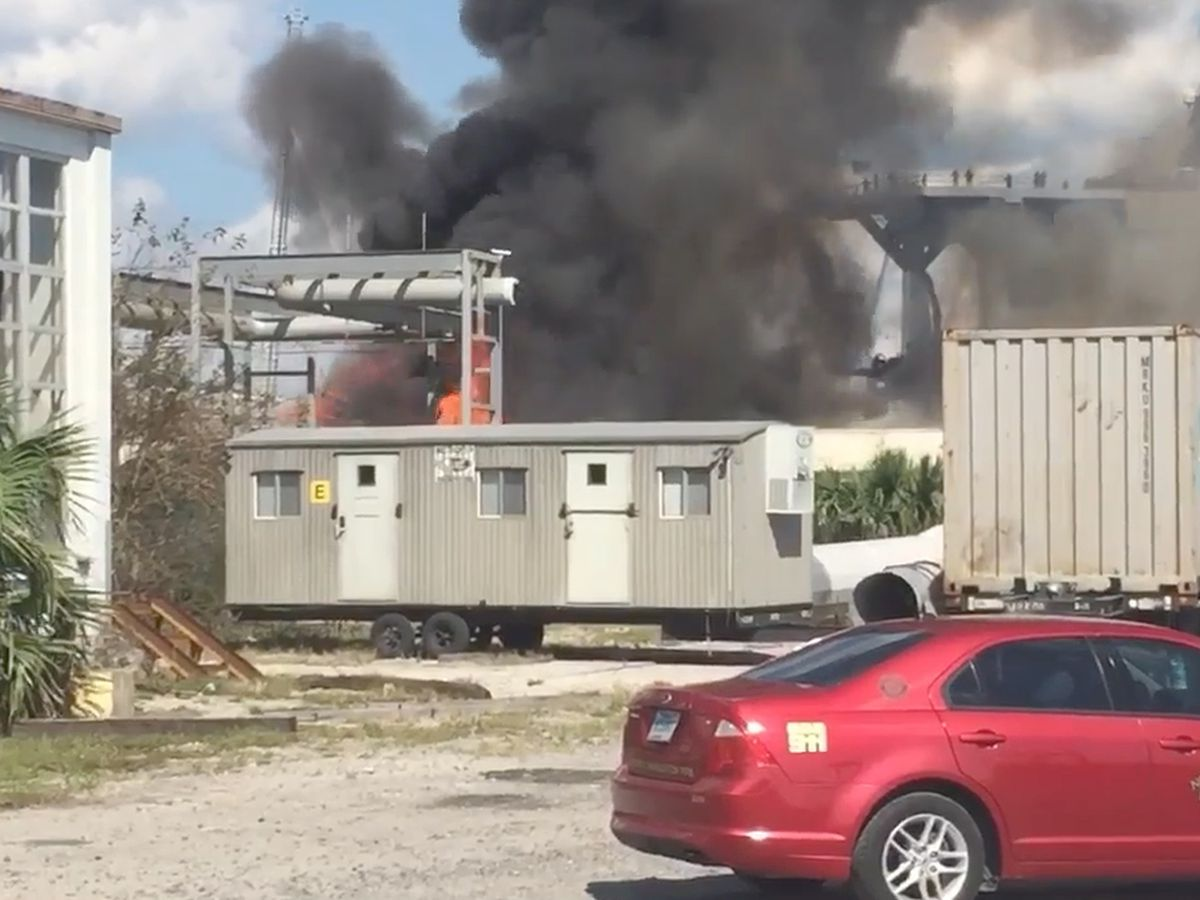 Emergency crews working fire at North Charleston shipyard