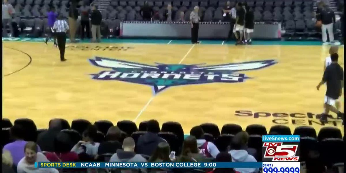 VIDEO: Porter-Gaud, First Baptist basketball teams play on NBA court in Charlotte
