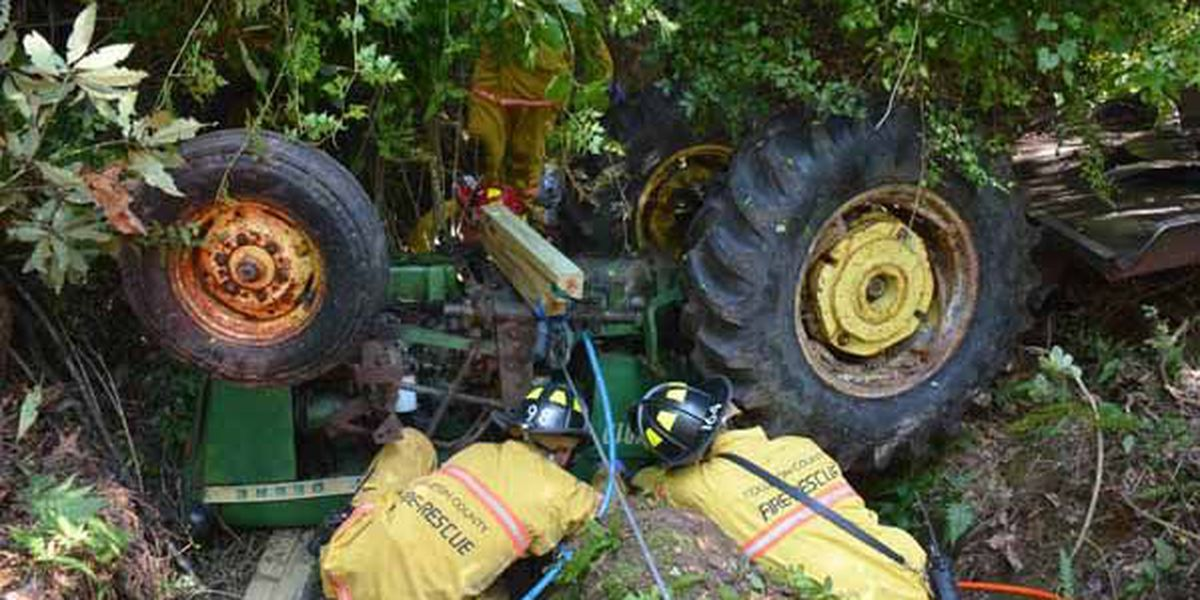 41-year-old man survives after trapped in overturned tractor