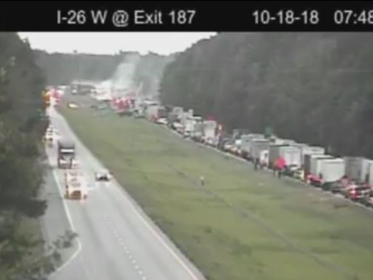 FIRST ALERT: Overturned tractor trailer blocks all lanes of I-26 near Ridgeville exit