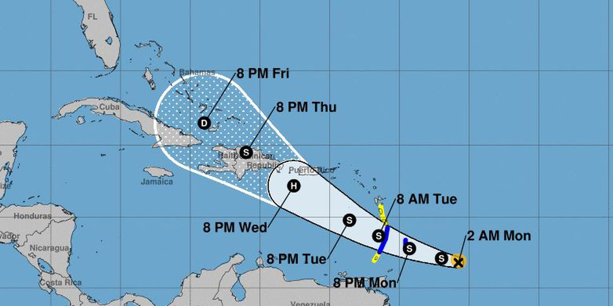 Tropical Storm Dorian continues westward track toward Leeward Islands