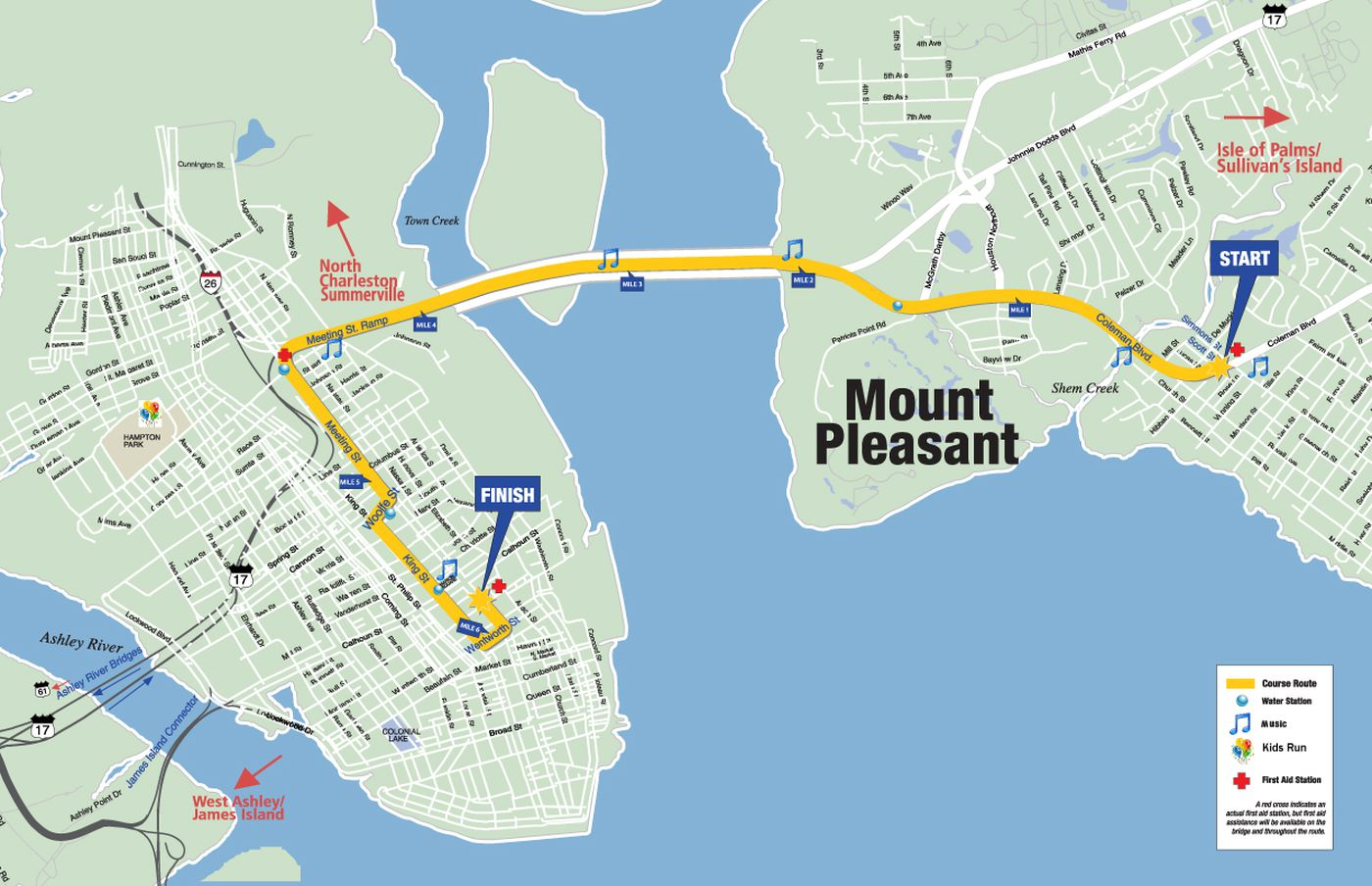 The Cooper River Bridge Run goes from Mount Pleasant, across the Ravenel Bridge and into downtown Charleston. (Source: Cooper River Bridge Run)