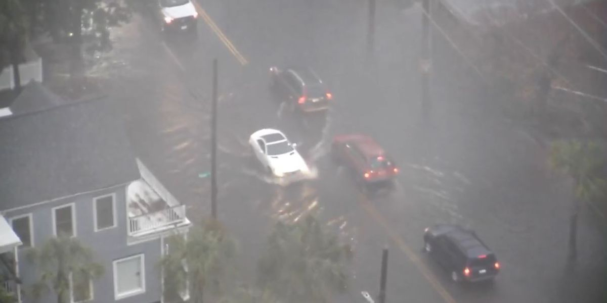 Some downtown Charleston roads close because of flooding during morning storm