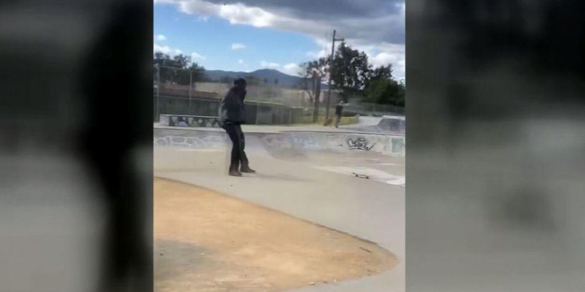 Dust devil tears through park, caught on camera