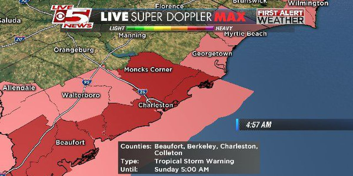Tropical storm warning in effect for Lowcountry; tornado watch issued for Beaufort