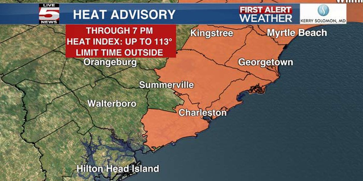 FIRST ALERT: Heat advisory in effect through 7 p.m. for 4 Lowcountry counties