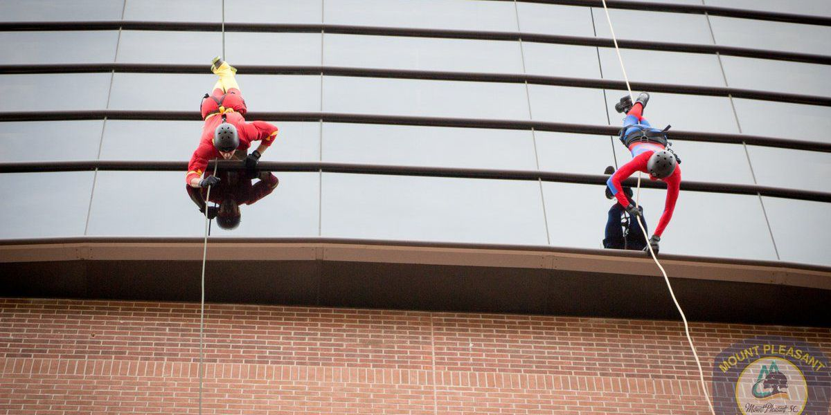 Mount Pleasant SWAT Team rappels down MUSC Children's Hospital atrium