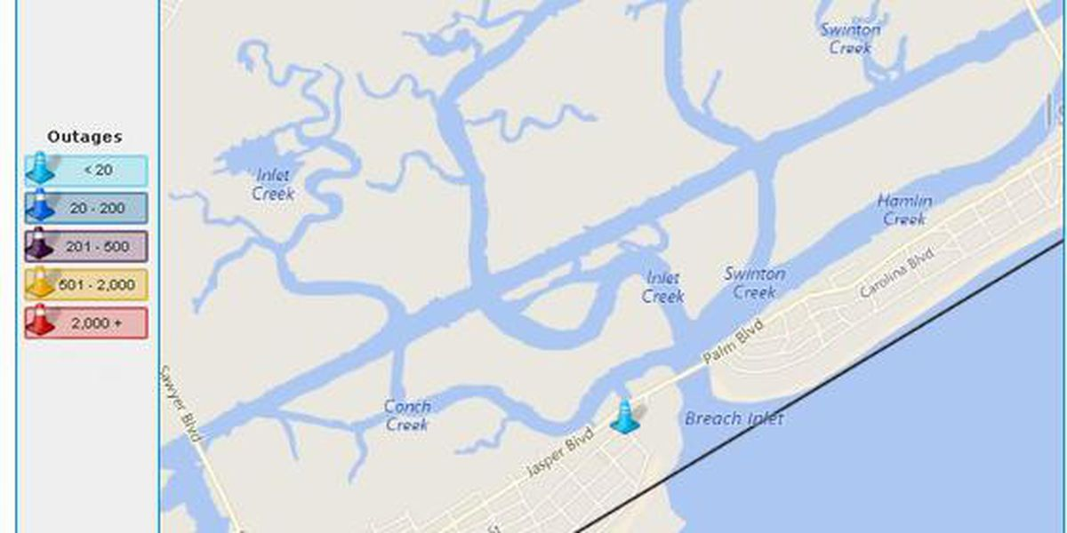 Traffic accident causing power outages on Sullivan's Island