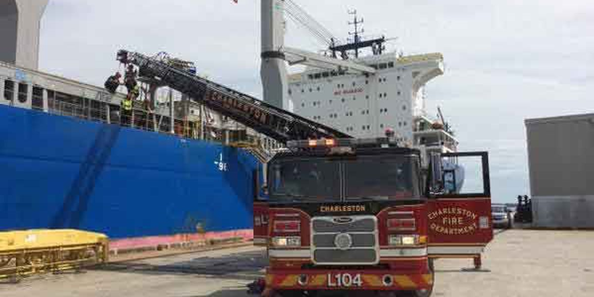 Crews respond to medical emergency aboard freighter at Charleston pier