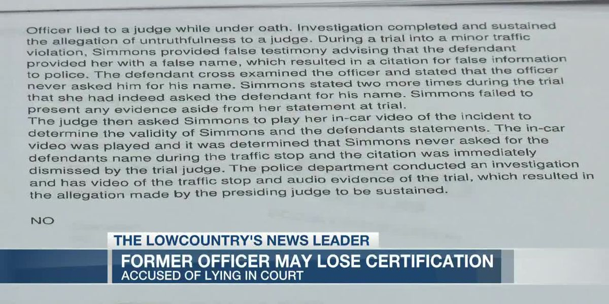 VIDEO: Documents: Former Goose Creek cop faces loss of certification for lying in court