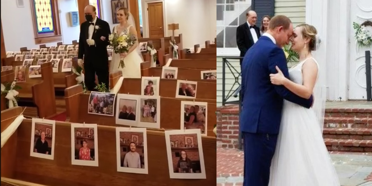 Nurses fill pews with photos of loved ones for wedding; will skip honeymoon to keep saving lives
