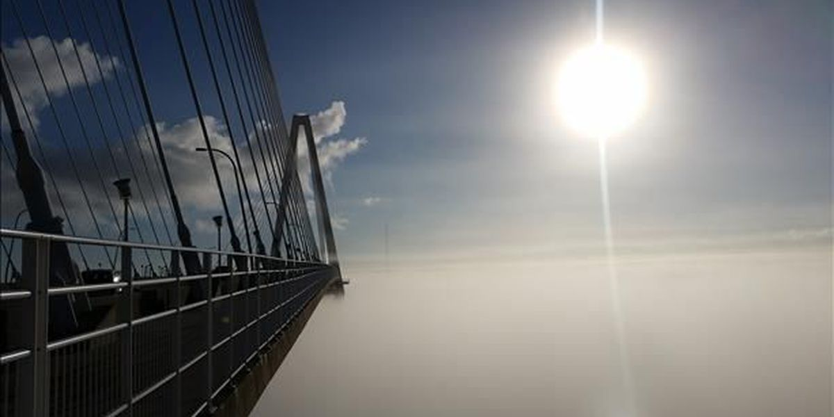 Arthur Ravenel Bridge appears to be floating in the air thanks to weekend fog