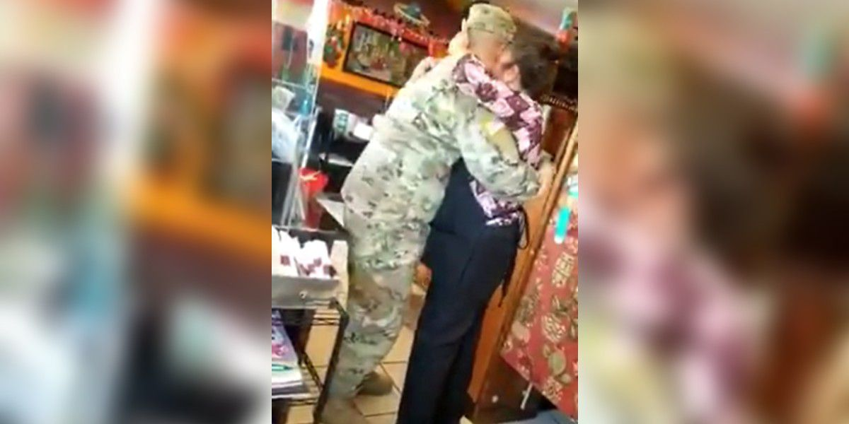 Soldier who's been deployed for 13 months surprises mom at N.C. restaurant