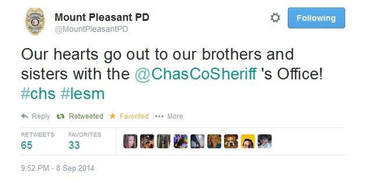 Agencies tweet support after shooting of Charleston County deputies