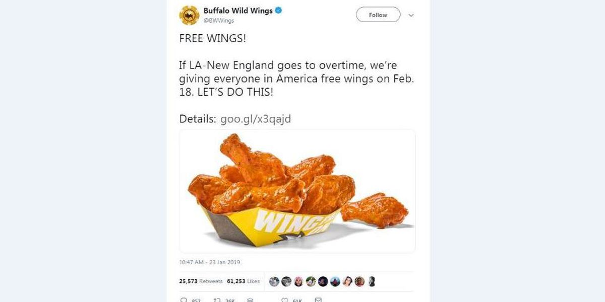 Buffalo Wild Wings giving away free wings if Super Bowl goes into overtime