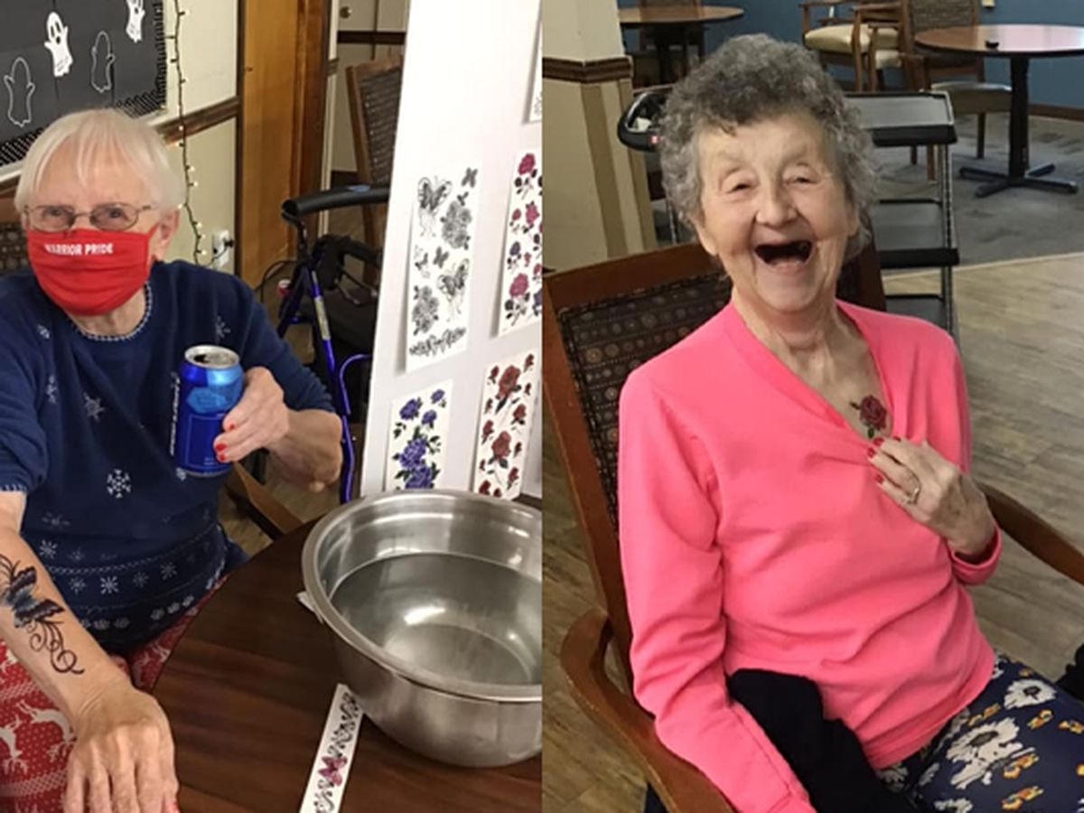 Nursing home keeps spirits high during pandemic with 'Booze N' Tattoos'
