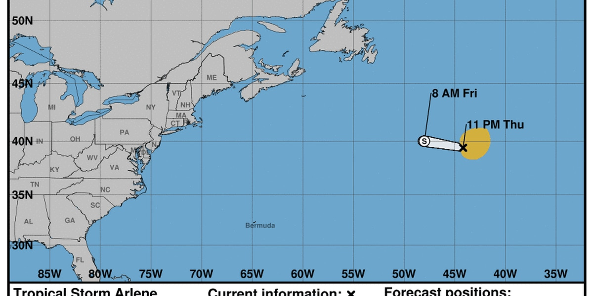 FIRST ALERT WEATHER: Tropical Storm Arlene forms in Atlantic