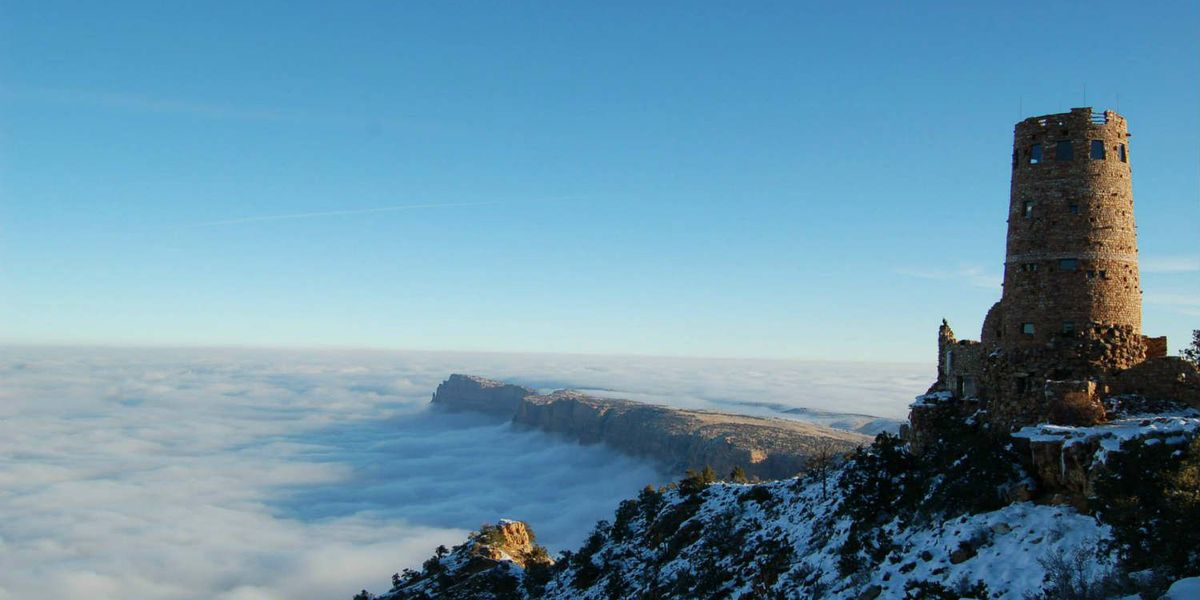 Grand Canyon filled with fog, spectacular photos