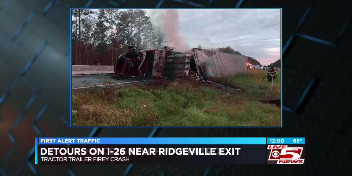 VIDEO: Lanes remain blocked after I-26 tractor trailer crash