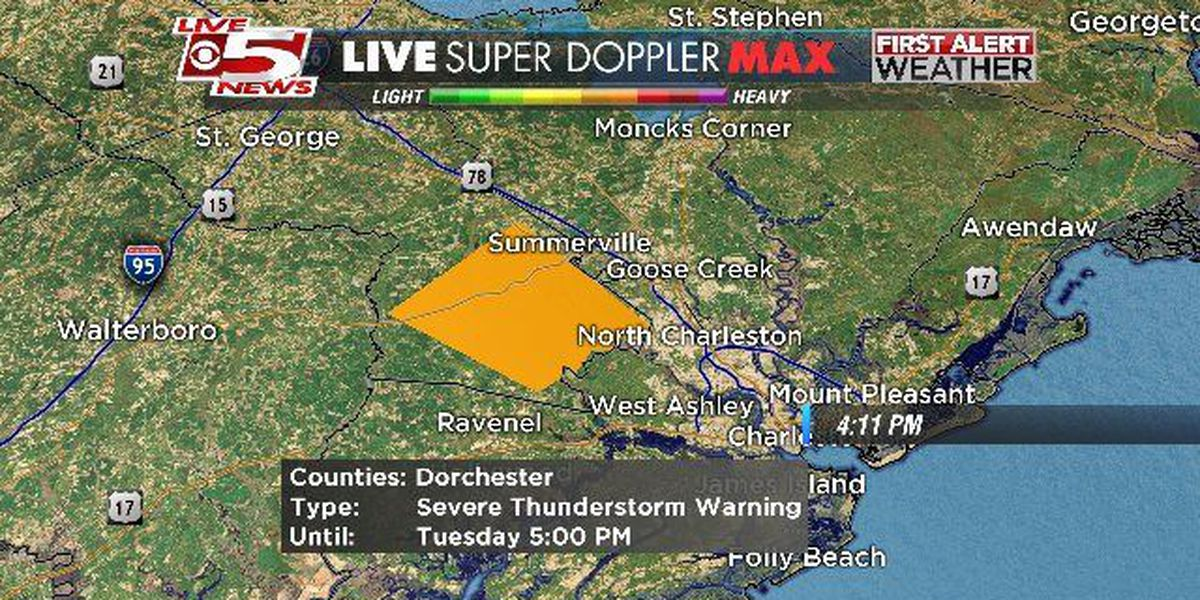 Hail detected from severe thunderstorms over Dorchester Co.