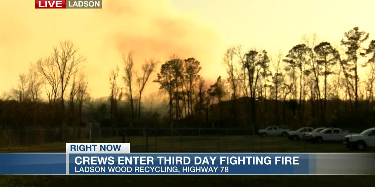 VIDEO: Crews enter third day fighting fire at Lowcountry mulch facility