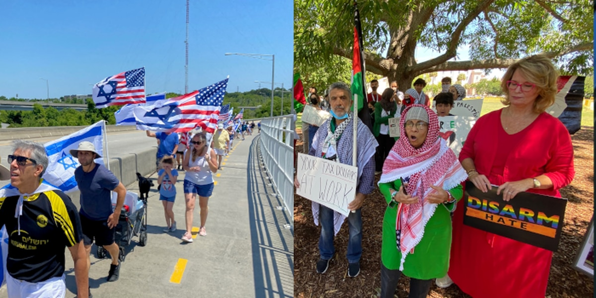 Separate Pro-Palestine, Pro-Israel demonstrations held in Charleston area