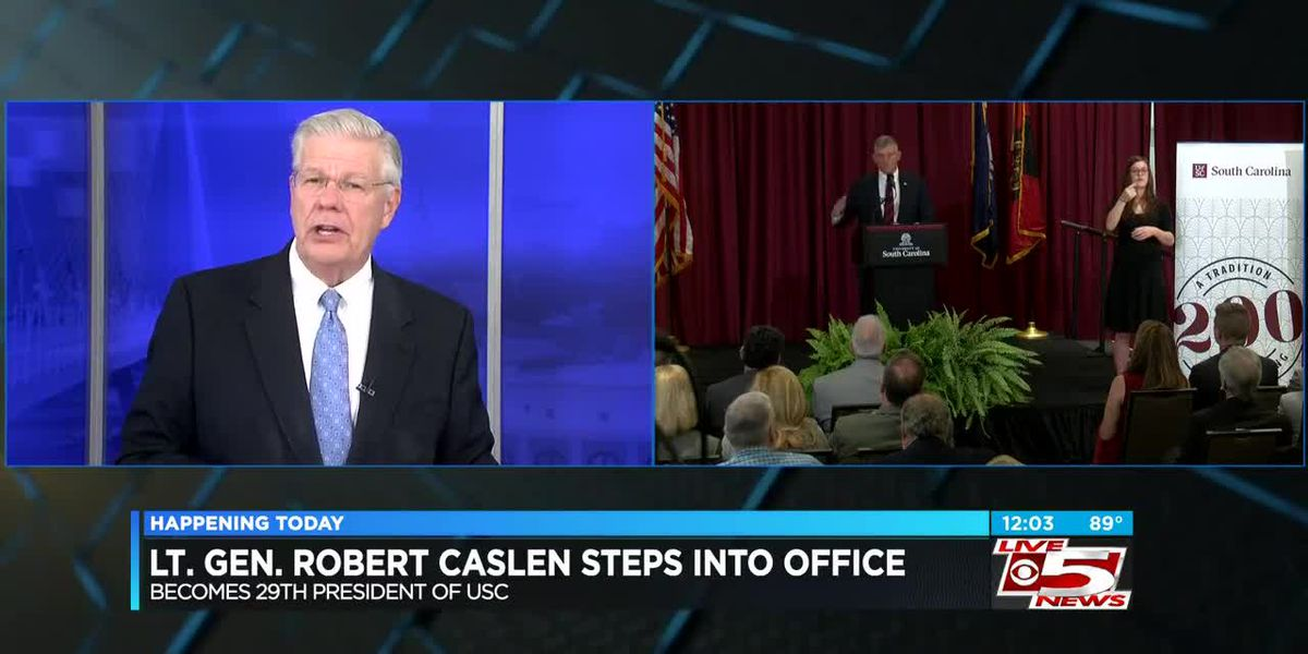 VIDEO: Caslen takes office as new UofSC president