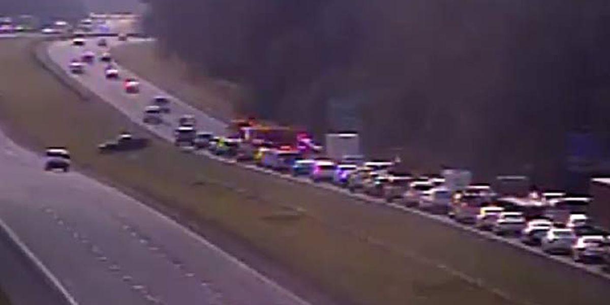 Crash blocked 2 eastbound lanes on I-26
