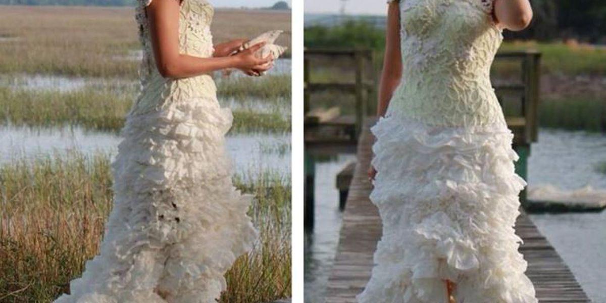 Surfside Beach woman designs toilet paper wedding dress