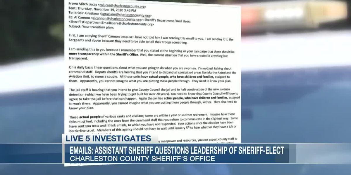 VIDEO: Charleston sheriff responds to exchange between assistant sheriff, sheriff-elect